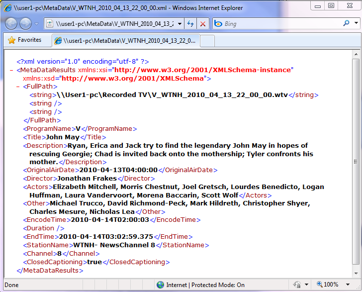 Metadata Xml Database